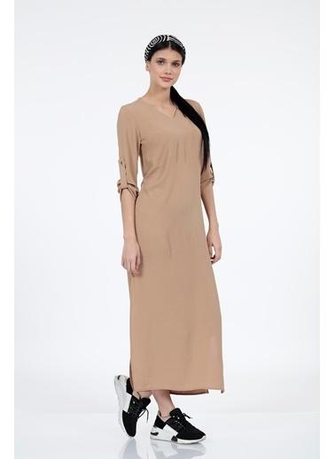 Vitrin V Yaka Yanlar Yırtmaç Detaylı Uzun Elbise Vizon